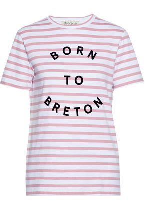 ÊTRE CÉCILE Flocked striped cotton T-shirt