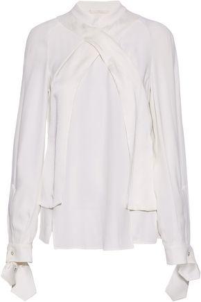 ANTONIO BERARDI Wrap-effect satin-trimmed crepe blouse