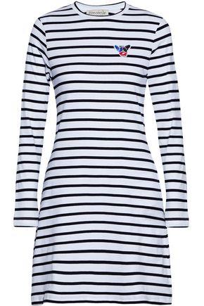 ÊTRE CÉCILE Appliquéd striped cotton-jersey mini dress
