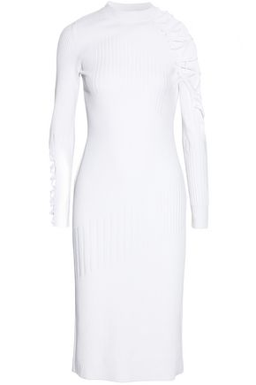 CUSHNIE ET OCHS Lattice-trimmed paneled ribbed-knit dress