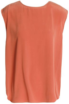 HAUTE HIPPIE Draped cutout silk crepe de chine top