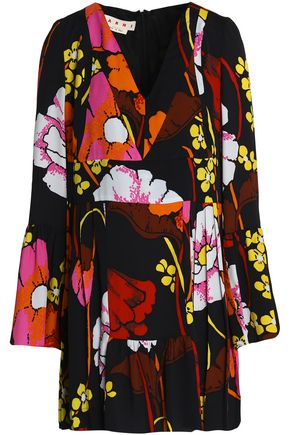 MARNI Pleated floral-print crepe tunic