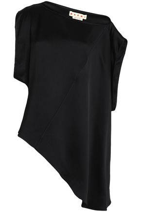 MARNI One-shoulder asymmetric satin-crepe top