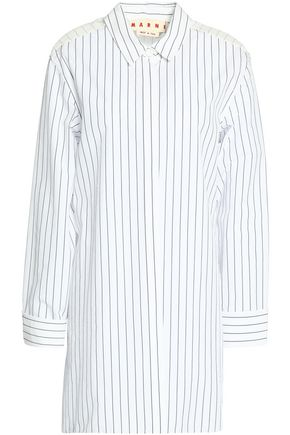 MARNI Paneled pinstriped poplin shirt