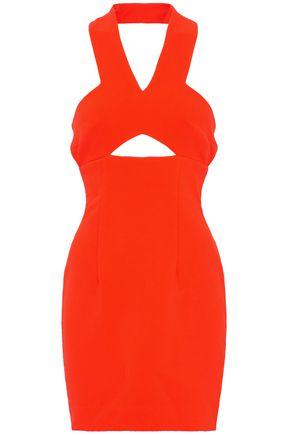 SOLACE LONDON Cutout crepe halterneck mini dress