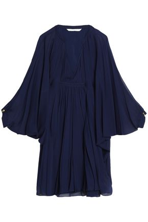 DIANE VON FURSTENBERG Gathered silk-voile mini dress