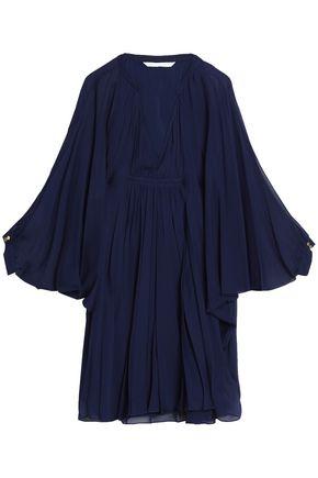 DIANE VON FURSTENBERG Gathered silk-georgette mini dress