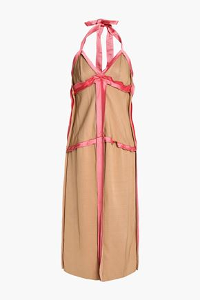 MARNI Satin-trimmed cady halterneck midi dress