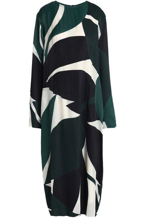 MARNI Printed satin-twill midi dress