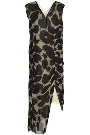 MARNI Ruched printed cotton-gauze midi dress