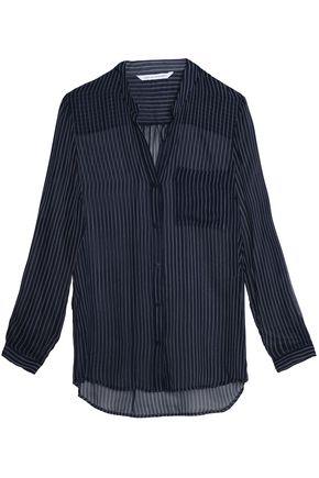 DIANE VON FURSTENBERG Pinstriped silk-chiffon blouse