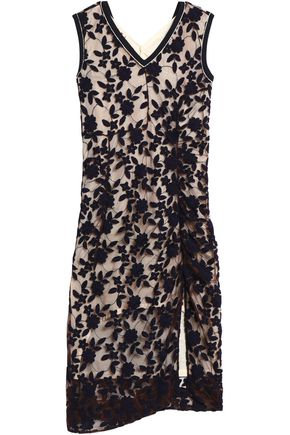 MARNI Ruched embroidered tulle midi dress