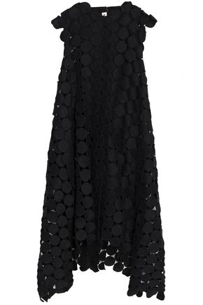 MARNI Asymmetric cotton-blend macramé midi dress