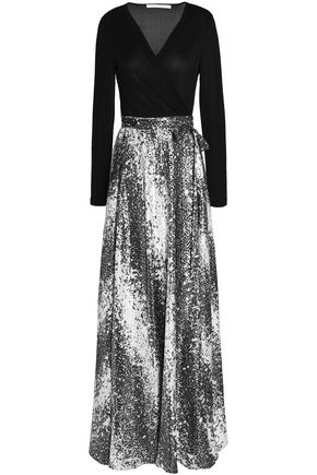 DIANE VON FURSTENBERG Paneled metallic jacquard and silk-blend maxi dress
