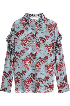 ROBERT RODRIGUEZ Ruffle-trimmed floral-print silk-chiffon blouse