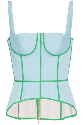 THOM BROWNE Two-tone cotton-twill bustier top