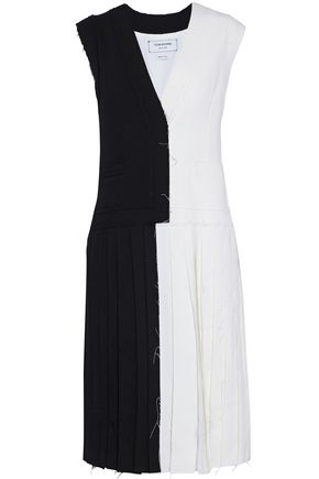 THOM BROWNE Two-tone pleated wool-blend crepe dress