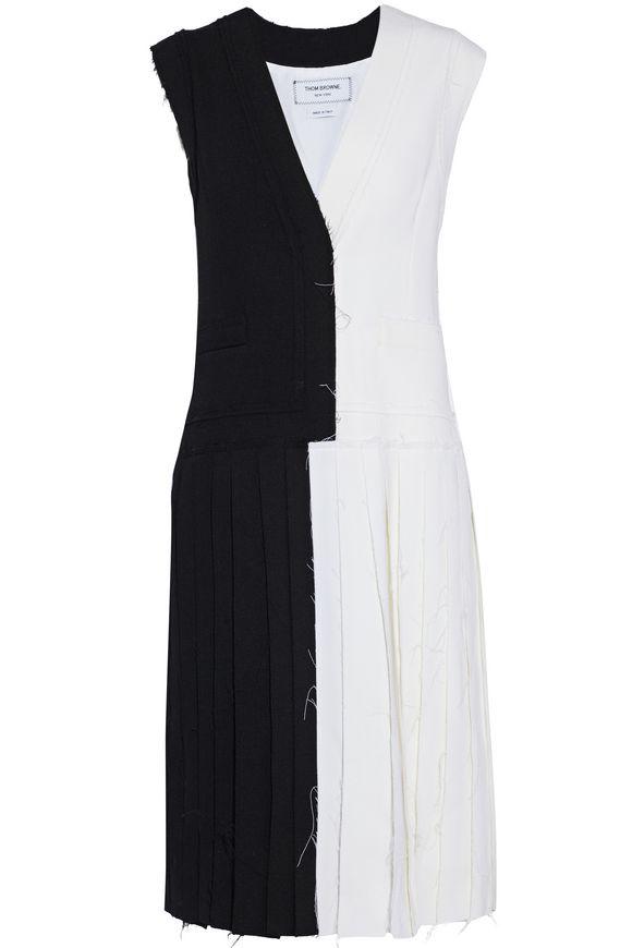mezcla Thom Browne multicolor bicolor de lana crepé en bicolor de Vestido 42 talla qFX1rnF