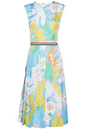 THOM BROWNE Pleated floral-print silk-twill dress
