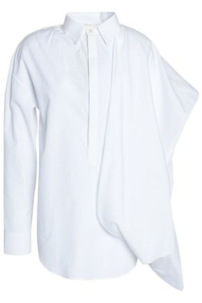 CHALAYAN Asymmetric draped cotton-poplin shirt