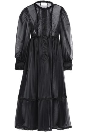 MAISON MARGIELA Satin-trimmed pintucked organza maxi dress