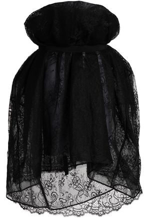MAISON MARGIELA Strapless lace and organza mini dress