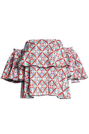 CAROLINE CONSTAS Liza off-the-shoulder ruffled printed cotton-blend poplin top