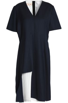 MARNI Asymmetric layered pinstriped wool-blend dress