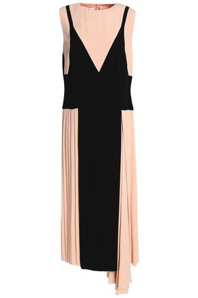 MARNI Pleated two-tone crepe midi dress