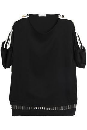 VIONNET Grosgrain and tulle-trimmed silk-blend top