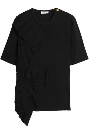 VIONNET Pleated cotton-blend poplin top