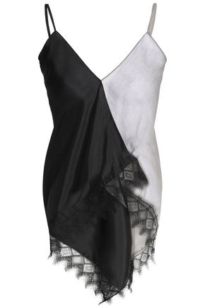 VIONNET Asymmetric lace-trimmed two-tone georgette and silk-satin top