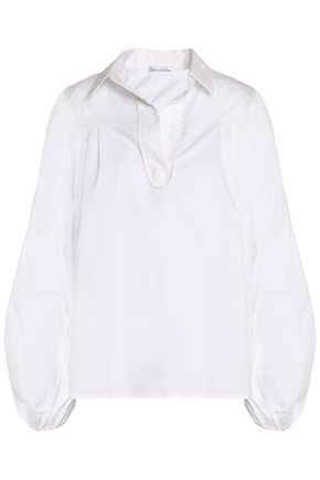OSCAR DE LA RENTA Gathered cotton-blend poplin shirt