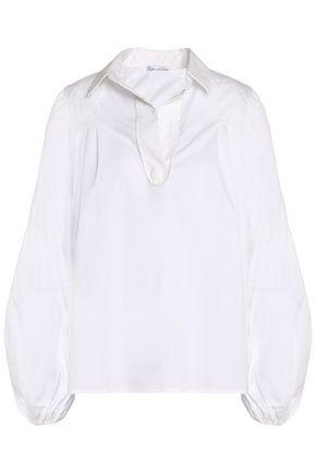 OSCAR DE LA RENTA Gathered cotton-blend poplin shirt