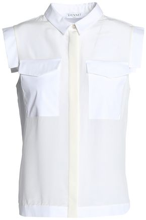 VIONNET Paneled crepe de chine and cotton-poplin shirt