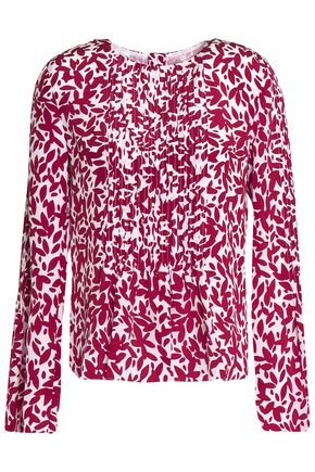 OSCAR DE LA RENTA Printed pintucked silk top