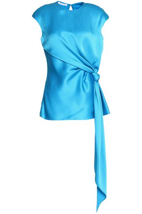 OSCAR DE LA RENTA Asymmetric knotted satin top