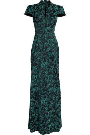 ZAC POSEN Floral-jacquard gown