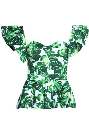CAROLINE CONSTAS Irene off-the-shoulder ruffled printed cotton-blend poplin top