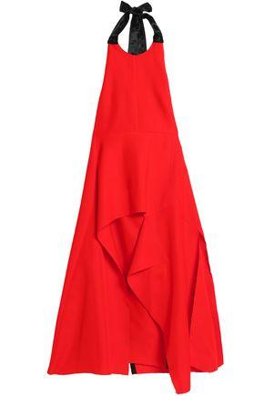 MARNI Draped satin-trimmed faille halterneck tunic