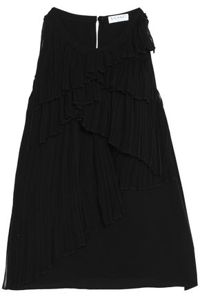 VIONNET Pleated silk crepe de chine top