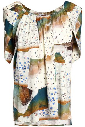 VIONNET Printed cotton-blend blouse