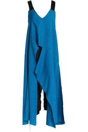 MARNI Satin-trimmed draped wool-blend tunic