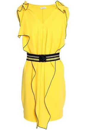 VIONNET Belted ruffled crepe mini dress
