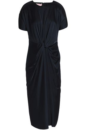 MARNI Wrap-effect knotted jersey midi dress