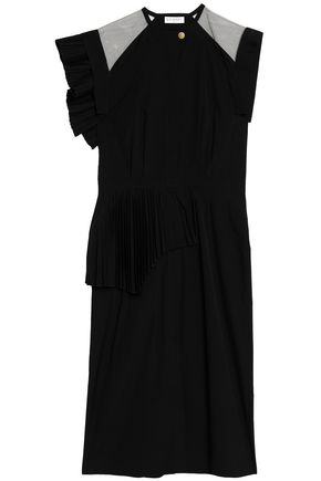 VIONNET Tulle-paneled pleated cotton-poplin midi dress