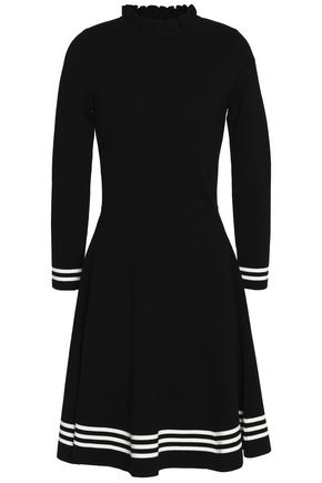 CHINTI AND PARKER Striped ruffle-trimmed wool dress
