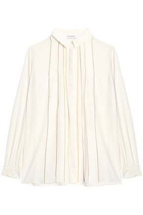 VIONNET Metallic-trimmed silk shirt