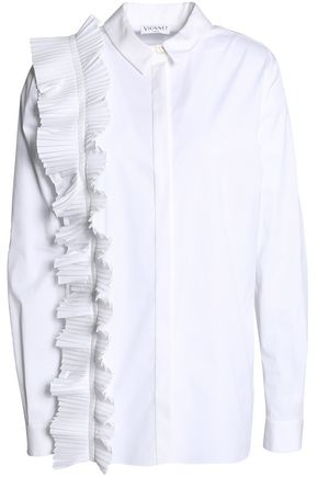 VIONNET Pleated cotton-blend poplin shirt
