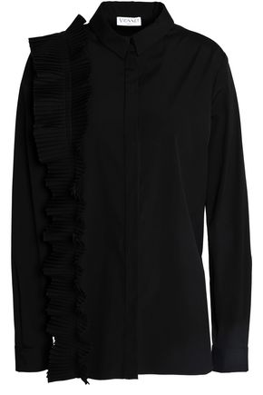 VIONNET Pleated ruffle-trimmed cotton-blend poplin shirt